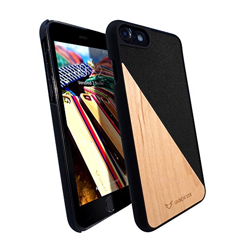 Raidfox iPhone 7 Natural Wood Hard Case - Eco-friendly FSC Forest Handmade Natural Wooden Cover - Hybrid Heavy Duty Woodback Protector Faceplate Nature Bond (Versus (Wood Phone Faceplates)