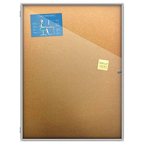 Thornton's Office Supplies Indoor Aluminum Frame Wall Mount Enclosed Cork Bulletin Board with Locking Door (48 x 36) - Indoor Enclosed Aluminum Message Board