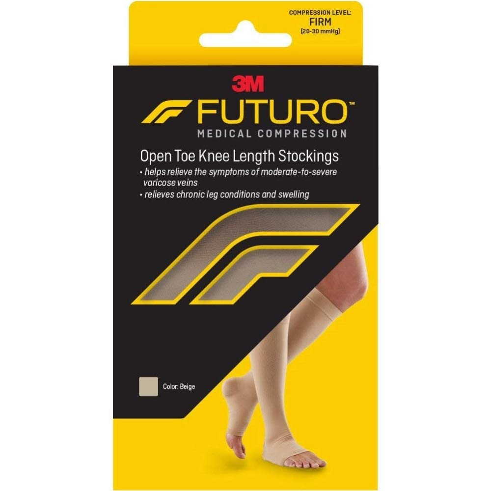 Futuro Therapeutic Knee Length Stockings for Men/Women, Firm Compression, Open Toe, Small, Beige