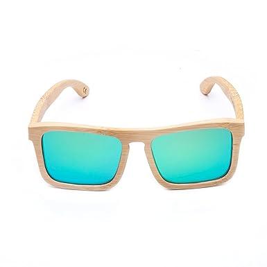 68c8ab1a85 HBF 1 Piece Polarized Sunglasses Square Retro Handmade Bamboo UV400 With  Glasses Case For Men And Women (2)  Amazon.co.uk  Clothing