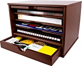 wood desktop organizer Victor Wood Desktop Organizer with Closing Door, A4720 (Autumn Brown, Color is Lighter and redder Than Mocha Brown)