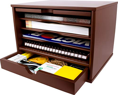 Victor Wood Desktop Organizer with Closing Door, A4720 (Autumn Brown, Color is Lighter and redder Than Mocha Brown)