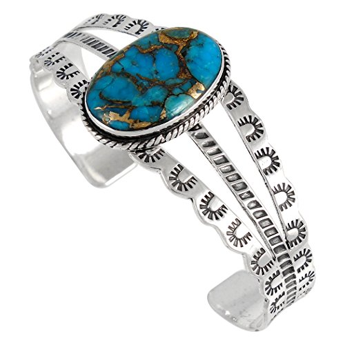 Turquoise Bracelet Sterling Silver 925 with Genuine Copper-Infused Turquoise by Turquoise Network
