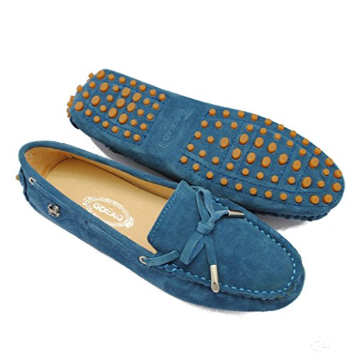 Leather Moccasin Shoes Suede Meijili Women's Peas Casual Driving Peacock Work Loafer Blue Flats qZwEwYv