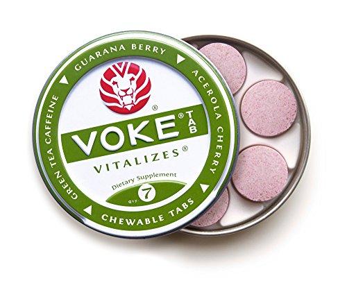 Voke Tab (12 tins / 84 chewables) Brain Boosting Focus, Memory & Energy. No Sugar, All Natural Green Tea Caffeine, Organic Guarana, Organic Acerola Cherry, Beet Powder, 100% Vitamin C Antioxidants