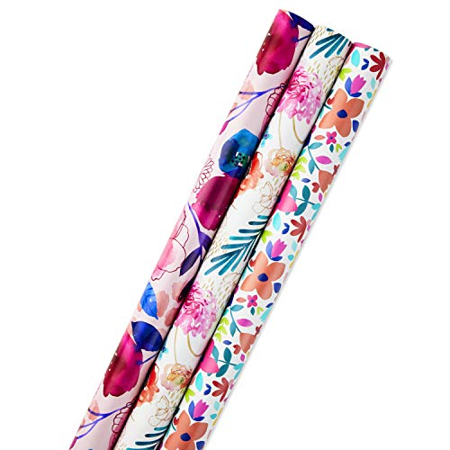 Hallmark All Occasion Reversible Wrapping Paper for Birthdays, Bridal Showers, Baby Showers, Mothers Day, and More (Feminine Florals, Pack of 3, 120 sq. ft. ttl.)]()