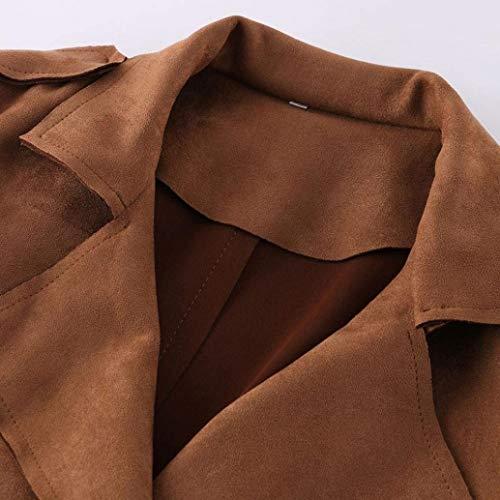 Lunga Invernali Windbreaker Monocromo Moda Braun Cintura Fibbia Qualità Trench Alta Donna Bavero Tasche Camoscio Ragazza Chic Inclusa Manica Metallo Elegante Giubotto Cappotti In Con Di 5OOIq