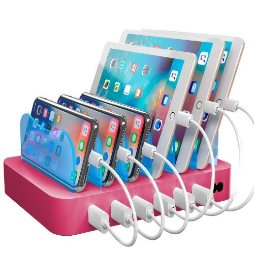Hercules Tuff Charging Station for Multiple Devices, with 6 USB Fast Ports and 6 Short Mixed USB Cables Included for Cell Phones, Smart Phones, Tablets, and Other Electronics, Pink