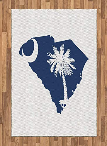 Lunarable South Carolina Area Rug, The Palmetto State Flag and Map Sabal Palm Tree and Crescent, Flat Woven Accent Rug for Living Room Bedroom Dining Room, 4 x 5.7 FT, Cobalt Blue and White