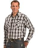 Jack Daniels Men's Plaid Western Snap Shirt Black X-Large