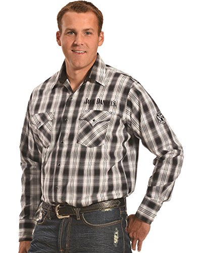 Jack Daniels Men's Plaid Western Snap Shirt Black Large