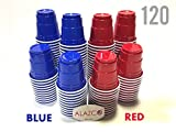 120pc ALAZCO Red & Blue Mini Shot Cup Set (2-Ounce) Fun Mini Snack Serving BBQ Picnic Holiday Tailgate Football Super Bowl Patriotic Theme Party Shooter Mini Beer Pong Jello Shots