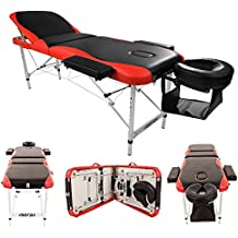 "Teekland 84"" Portable Folding Massage Table w/Free Carry Case Facial SPA Bodybuilding Tattoo Bed Beauty Salon (3 Sections Black-Red)"