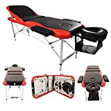 Teekland 84'' Portable Folding Massage Table w/Free Carry Case Facial SPA Bodybuilding Tattoo Bed Beauty Salon (3 Sections Black-Red)