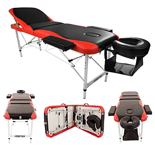 Teekland 84″ Portable Folding Massage Table w/Free Carry Case Facial SPA Bodybuilding Tattoo Bed Beauty Salon (3 Sections Black-Red)
