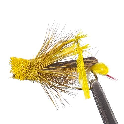 OCEAN CAT 1 Dozen(12 pcs) Flies Daves Hopper Yellow Dry Fly Fishing Size 4#6#8#10#12#14#16# (10#)