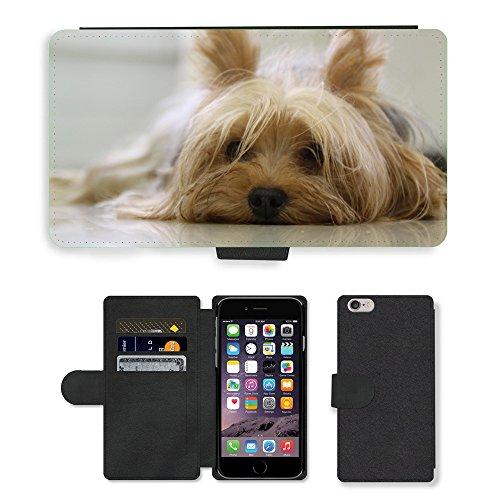 "Just Phone Cases PU Leather Flip Custodia Protettiva Case Cover per // M00128124 Yorkshire Terrier Yorkie Terrier // Apple iPhone 6 PLUS 5.5"""