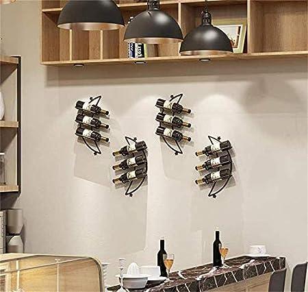 KUMOPYU Estante para Vinos Estante para Vinos 3 Botellas De Hierro Forjado Estante para Vinos Montado En La Pared Restaurante Bar Estante para Copas De Vino Vinotecas Copas De Vino botellero