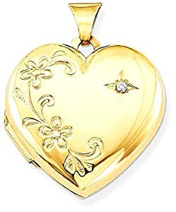IceCarats 14k Yellow Gold Diamond Family Heart Locket Necklace That Holds Pictures