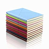 Hardcover Journal Diary Leather Notebook - EMITEC A5 PU Colorful Writing Notebook Softcover Composition Notebook (100 Sheet/Pages 200)Random Color Set of (3)