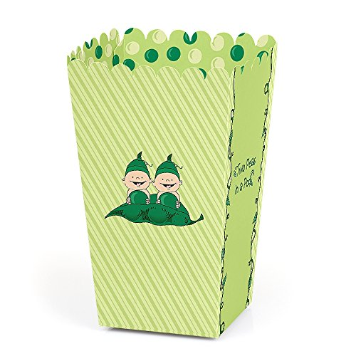 Twins Two Peas in a Pod - Baby Shower or Birthday Party Favor Popcorn Treat Boxes - Set of 12
