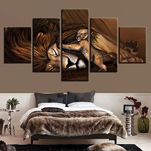 (SHUII Canvas Wall Art Picture Frame Kitchen Restaurant Decor 5 Pieces Animal Lion Cubs Sleeping Living Room HD Printed Poster Painting 20x35cm20x45cm20x55cm )