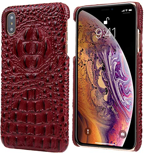 iPhone Xs Max Leather Case, Reginn Slim Fit Phone Cover [Wireless Charging Compatible] [Crocodile Head Pattern] Genuine Leather Case for iPhone Xs Max (Red) (Cases 6 Leather Iphone Crocodile)