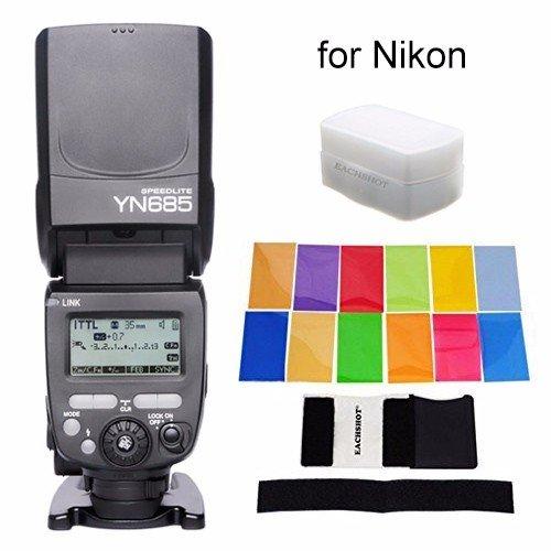 YONGNUO i-TTL Speedlite YN685 (YN-568EX Upgraded Version) 622N/603 Dual Wireless System Works with YN622N and RF603 Wireless Flash for Nikon DSLR + EACHSHOT Color Filters + EACHSHOT Diffuser