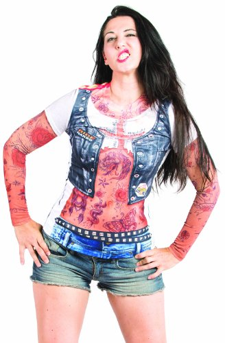 Faux Real Women's Ladies Tattoo Sleeves Contemporary Missy T-Shirt, Multi, Small