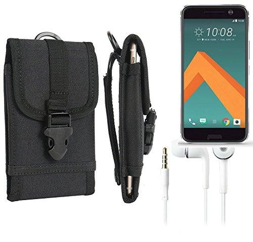 bolsa del cinturón / funda para HTC 10, negro + Auriculares   caja del teléfono cubierta protectora bolso - K-S-Trade (TM)