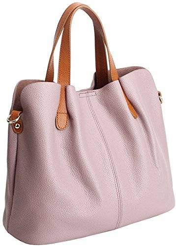 Shoulder Purse in Bag Lilac Handle Top Set 2 Leather 1 Women Satchel Fashion Kenoor Handbags Tote 7RxAAqSI