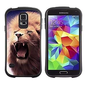 All-Round híbrido de goma duro caso cubierta protectora Accesorio Generación-I BY RAYDREAMMM - Samsung Galaxy S5 SM-G900 - Lion Roar Fangs Teeth Mane Purple Yawn