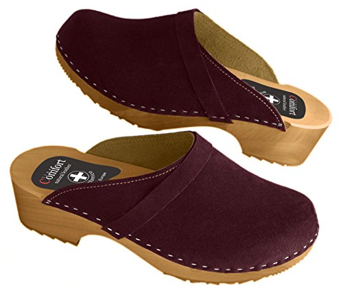 Women's Natural Leather Clogs with Buckle/Back Strap, Various Colors Maroon (Suede)