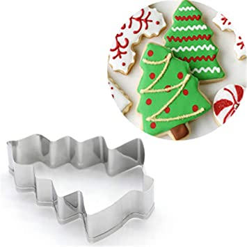1 piece AMW Cortadores De Galletas Kitchen Supplies Christmas Tree Shaped Cookie Cutters Stainless Steel Accessories