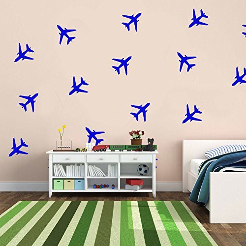 Set of 20 Vinyl Wall Art Decals - Airplanes Patterns - 5