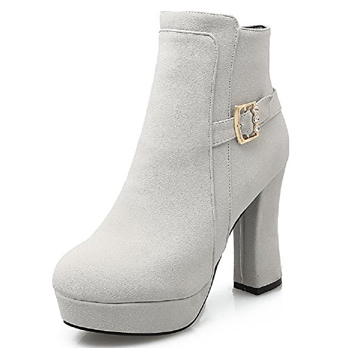 AllhqFashion Women's Zipper Round Closed Toe High Heels Frosted Low Top Boots, Gray, - Boots Baby Spice