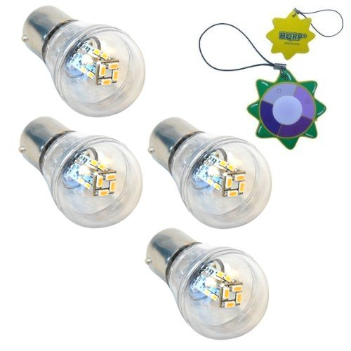 HQRP 4-Pack Waterproof BA15s Bayonet Base 16 LEDs SMD 3014 LED Omni Bulb Clear Cover Warm White for #1141 #1156 Keystone RV Travel Trailer Camper plus HQRP UV Meter by HQRP