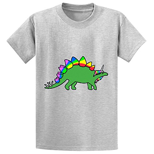 Price comparison product image Unicorn Stegocorn Unicorn Stegosaurus Boys' Customized Crew Neck T Shirts Grey