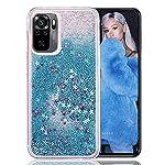 KC Liquid Glitter Floating Stars Soft Transparent Silicone Back Cover for Mi Redmi Note 10 & Mi Redmi Note 10S (Blue)