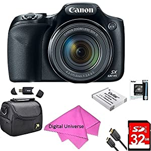 Canon Powershot SX530 HS 16MP Wi-Fi Super-Zoom Digital Camera 50x Optical Zoom Ultimate Bundle Includes Deluxe Camera Bag, 32GB Memory Cards, Extra Battery, HDMI Cable DIGITALUNIVERSE CLEANING KIT