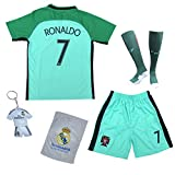 KID BOX 2018 Portugal Cristiano Ronaldo #7 Away Green Kids Soccer Football Jersey Gift Set Youth Sizes (7-8 Years)