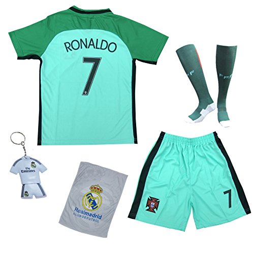 2018 Portugal Cristiano Ronaldo #7 Away Green Kids Soccer Football Jersey Gift Set Youth Sizes (9-10 YEARS) (Portugal Away Shirt)