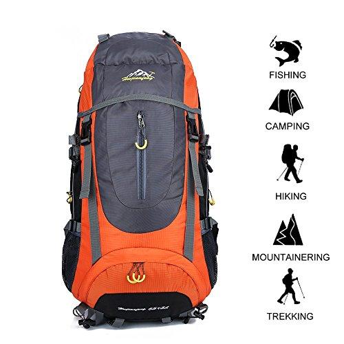 Gohyo Hiking Backpack 70L Huge Waterproof Ultra Lightweight Daypack Climbing Fishing International Backpack, Internal Frame Backpack,Trekking Camping Outdoor Backpack Bag with a Rain Cover (Orange)