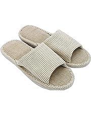 APIKA Dames- en Heren Katoen Vlas Casual Zacht Licht Open Teen Slippers Comfortabel en Ademend Huis Slippers Antislip voor Binnen en Buiten