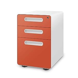 DEVAISE 3-Drawer Mobile File Cabinet with Anti-tilt Mechanism,Legal/Letter Size (Orange)