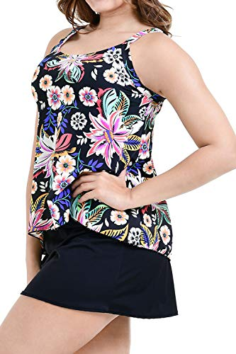 msuits Tummy Control Swimdress Two Piece Tankini Bathing Suit Floral Printed Swimwear for Women- Size18 ()