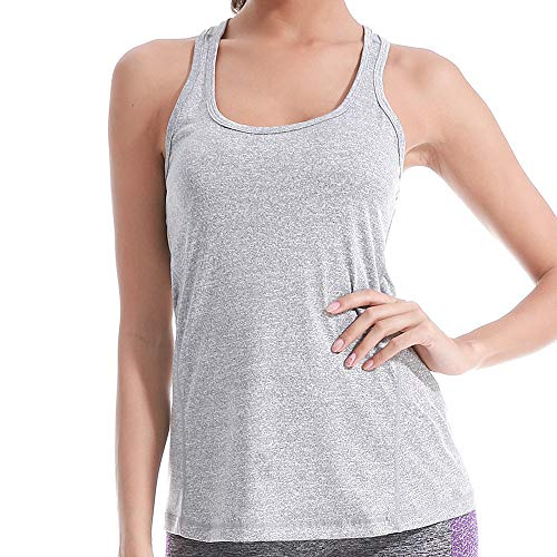 Pattyboth Fitness Vest Activewear Running Workouts Clothes Yoga Racerback Tank Tops for Women Sport Shirts (Grey, M)