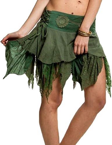 Mujer Sexy Mini Faldas Cintura Alta Lace-up Swing Falda Color ...