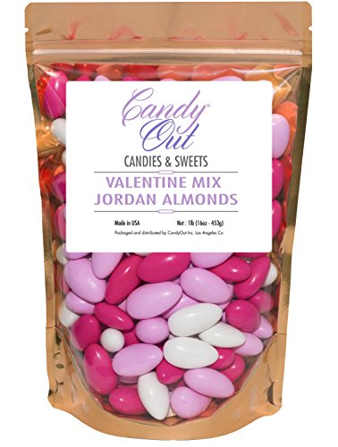 Valentine Mix Jordan Almonds 1lb - 16oz in sealed resealable stand-up bag