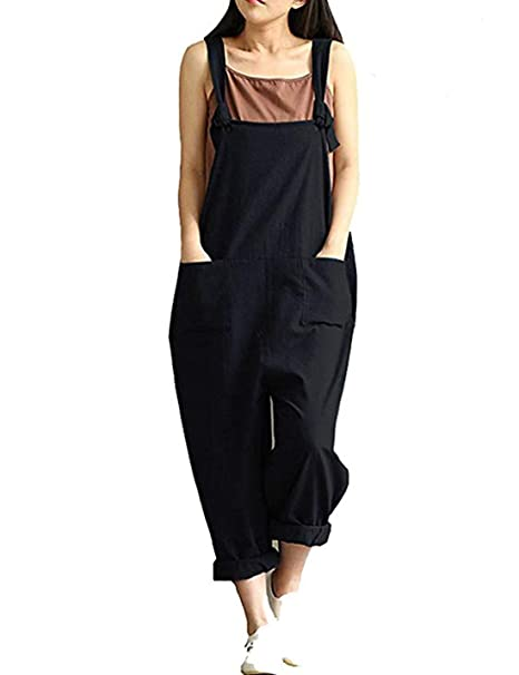 1d22859c441 Yeokou Women s Linen Wide Leg Jumpsuit Rompers Overalls Harem Pants Plus  Size (Small